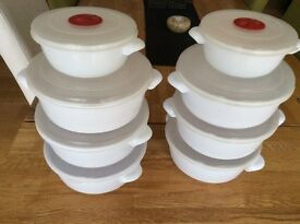 White plastic airtight containers