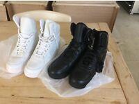 Firetrap Trainers, 2 pairs (Black new, White worn slightly) size UK 9