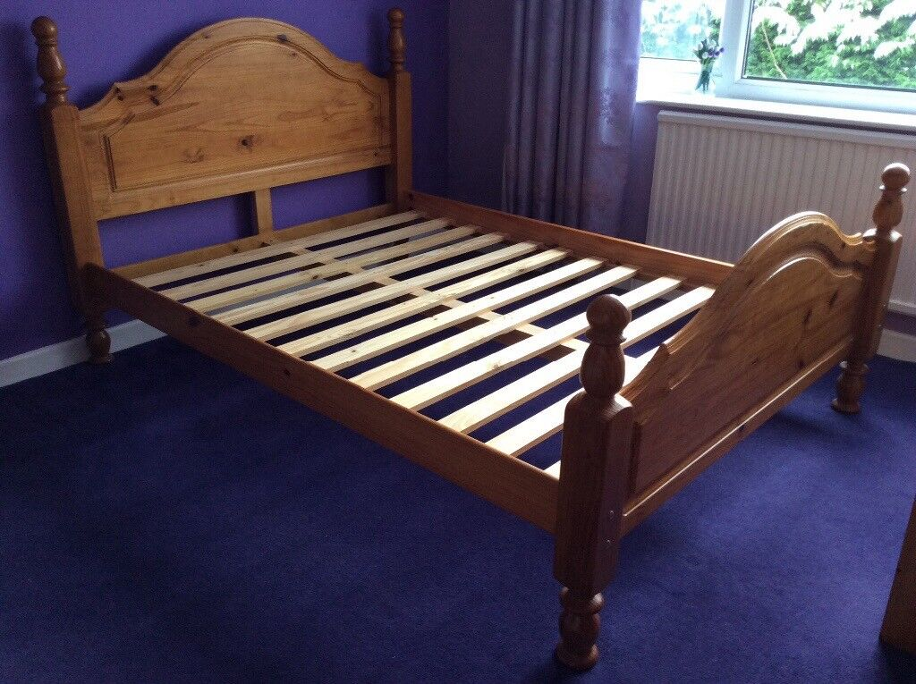 double bed frame in sturdy pine with wooden slats in holmes chapel cheshire gumtree. Black Bedroom Furniture Sets. Home Design Ideas