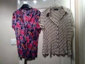 2 Waffle Blouses/Shirts Size 16