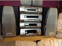 Technics hifi with 5 cd changer and 5 speaker system cinema surround sound..