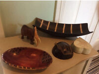 African style themed decorative items. Decorations. Elephant, wooden, bowl, dish. NOW REDUCED!