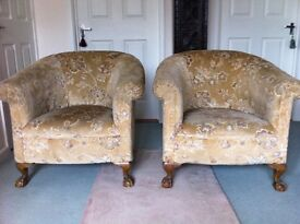 PAIR OF ANTIQUE UPHOLSTERED TUB CHAIRS