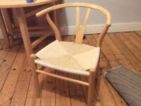 Set of 4 replica Hans Wegner CH24 Wishbone Dining Chairs (Beech with leather Cushions)