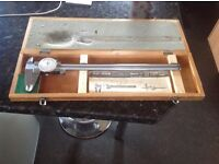 Rare Vintage mitutoyo Dial caliper With Original Wooden Box & Intructions