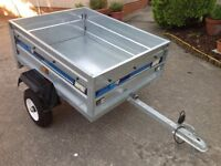 Maypole 712 Car Trailer - tipping with cover.