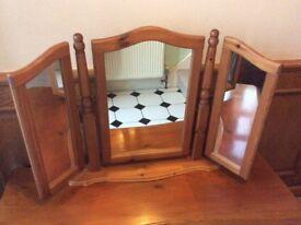 Antique Pine 3 panels Folding Mirror