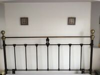 Headboard, Metal, King size, Black and Antique Brass