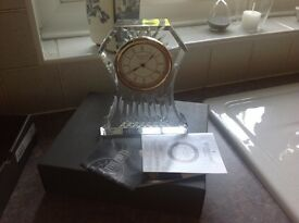 Waterford crystal cut glass clock - as new - excellent condition - still boxed £100