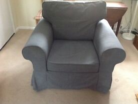 Ikea Ektorp armchair with denim coloured loose covers (washable) 18 months old