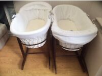 Moses baskets for sale in Leicester - perfect condition complete with stands mattresses and sheets