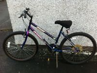 LADIES BIKE AS SEEN 18 GEARS RIP ON SEAT BUT NOW HAS A GEL SEAT COVER