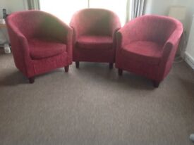 3 small maroon armchairs good condition