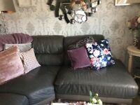 Slate Grey Leather Corner Sofa