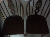 TWO ERCOL dark wood dining chairs (sorry no offers)