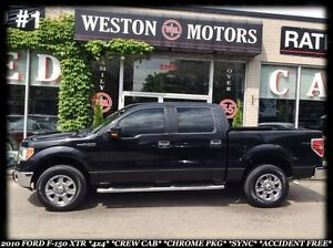 2010 Ford F-150 XLT 4X4 *CREW CAB *CHROME PKG *SYNC *ACCIDENT FR