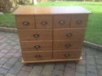 10 drawer wooden chest of drawers