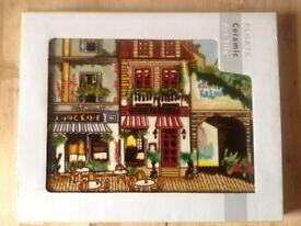 CAFÉ DES AMIS - ELGATE CERAMIC ART TILE (AS NEW, BOXED)