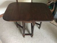 Gate Legged Barley Twist Oak Dropped Leaf Table