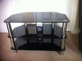 Black glass three tier tv stand