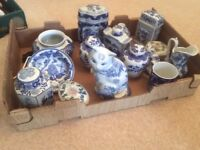 Blue Chinese ornament assortment.