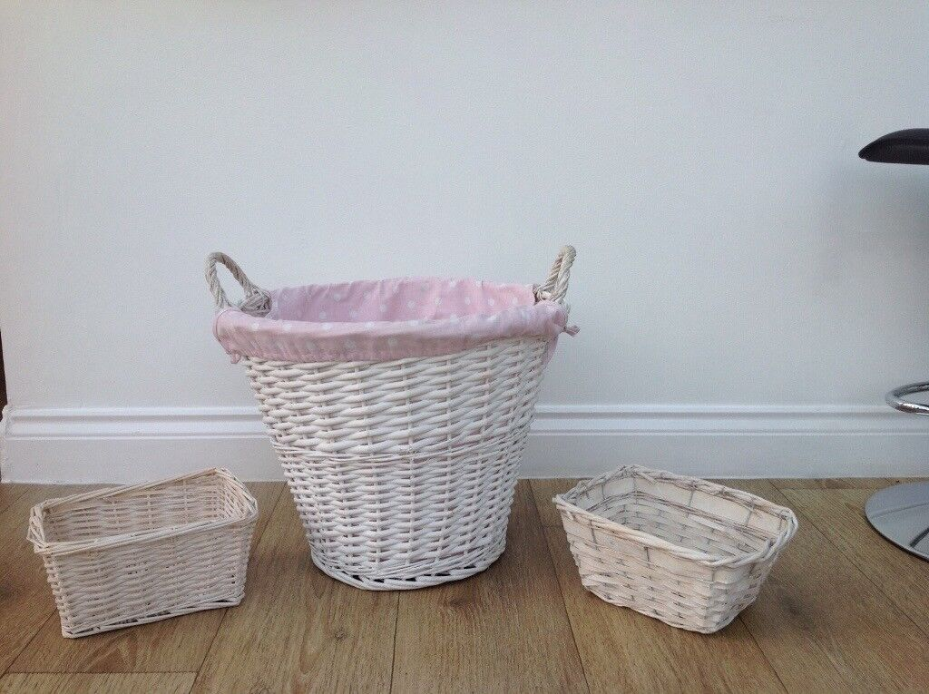 Large White basket with removable lining and 2 small white baskets