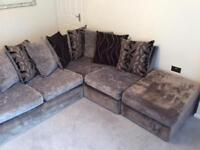 SCS charcoal grey corner sofa & pouffe - reversible scatter back cushions