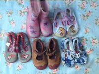 Size 6 bundle girls, Clarks Leather shoes, Doodles, Wellies (5 pairs)