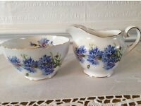 "Royal Adderley ""Cornflower"" Milk Jug and Sugar Bowl"