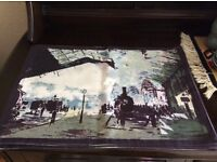 6 New cotton table mats, hand printed with industrial England image