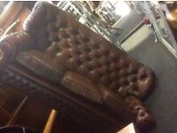 Reduced brwon leather Chesterfield sofa