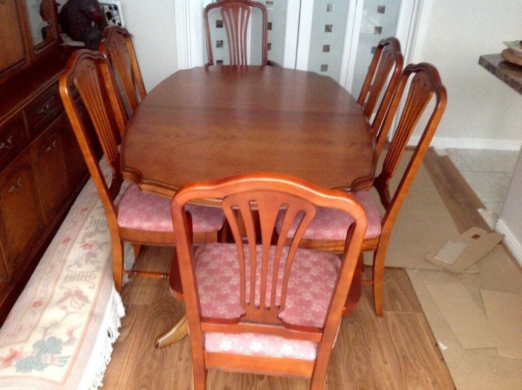 Mahogany Dining Table 6 Chairs Display Cabinet HiFi Unit