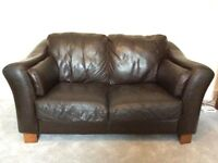Brown leather 2 seater sofa