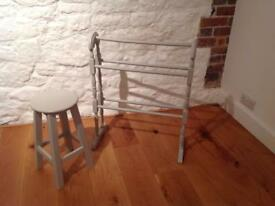 Farrow & Ball painted wooden towel rail and wooden stool