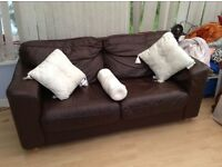 Chocolate leather sofa - cheap!!!