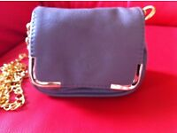 Therapy Small handbag/Purse in grey with long gold chain