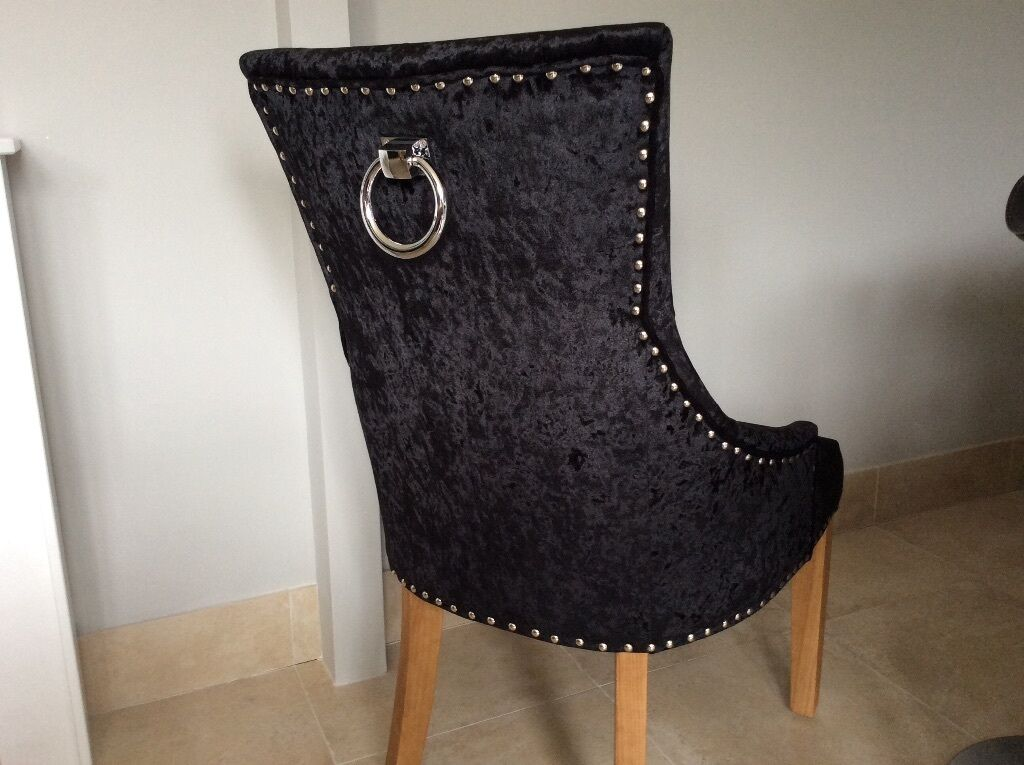 Black Crush Velvet Dining Chair With Studs And Knocker