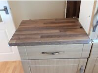 Light Oak Kitchen base & wall units, with worktops & Extractor unit