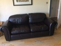 Large Chocolate Brown Leather Sofas x2 (ex Laura Ashley) ~ bargain