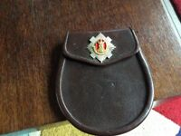 Leather Army issue sporran with Royal Scots cap badge. No chain £25 Ono