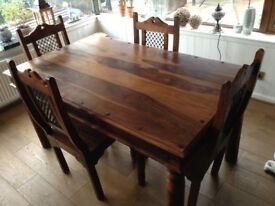 Sheesham Hardwood Dining Table & 4 Chairs for sale - FREE delivery within 20 mile radius of Burghead