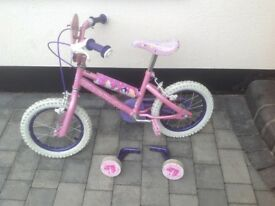Little girls pink princess bicycle