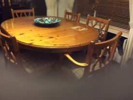 Ducal solid pine table and 6 chairs