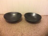 John Lewis Fusion Bean Bowls Black Stoneware x 2