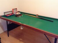 snooker / pool table with balls and small ques