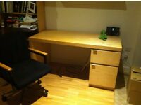 Ikea Malm study desk in Birch, office chair and shelf units -Good condition