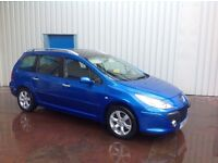 "2006/06 Peugeot 307 1.6 HDI SW BLUE (FACE-LIFT MODEL ""FULL YEARS MOT"""