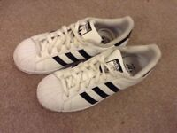 Adidas superstars white and black- hardly worn size 5.5