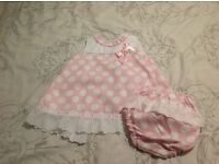 Pretty Originals pink polka dot dress ( spanish look) with matching knickers size 9-12