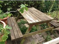 LARGE PUB STYLE GARDEN TABLE WITH SEATING. BENCH.